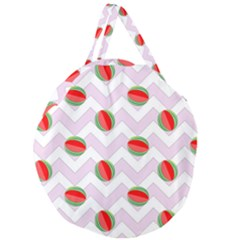 Watermelon Chevron Giant Round Zipper Tote