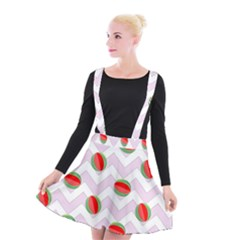 Watermelon Chevron Suspender Skater Skirt
