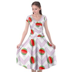 Watermelon Chevron Cap Sleeve Wrap Front Dress