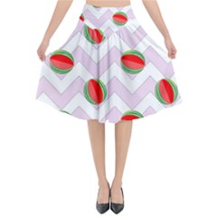 Watermelon Chevron Flared Midi Skirt