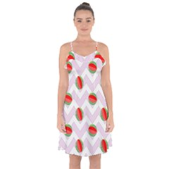 Watermelon Chevron Ruffle Detail Chiffon Dress