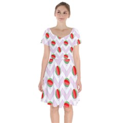 Watermelon Chevron Short Sleeve Bardot Dress