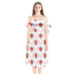 Watermelon Chevron Shoulder Tie Bardot Midi Dress