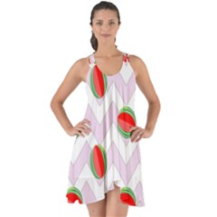 Watermelon Chevron Show Some Back Chiffon Dress
