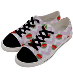 Watermelon Chevron Men s Low Top Canvas Sneakers
