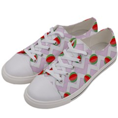 Watermelon Chevron Women s Low Top Canvas Sneakers