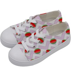 Watermelon Chevron Kids  Low Top Canvas Sneakers