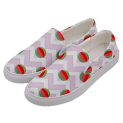 Watermelon Chevron Men s Canvas Slip Ons