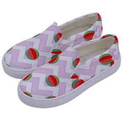 Watermelon Chevron Kids  Canvas Slip Ons