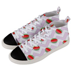 Watermelon Chevron Men s Mid-top Canvas Sneakers by snowwhitegirl