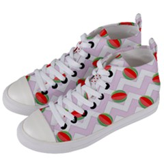 Watermelon Chevron Women s Mid-Top Canvas Sneakers
