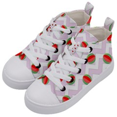 Watermelon Chevron Kid s Mid-Top Canvas Sneakers