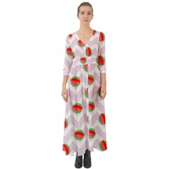 Watermelon Chevron Button Up Boho Maxi Dress