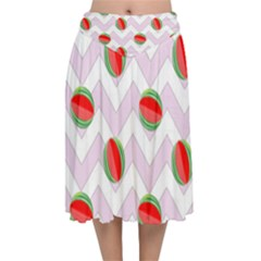 Watermelon Chevron Velvet Flared Midi Skirt