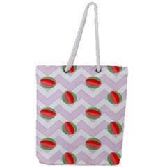 Watermelon Chevron Full Print Rope Handle Tote (Large)