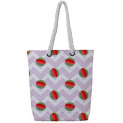 Watermelon Chevron Full Print Rope Handle Tote (Small)