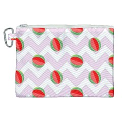 Watermelon Chevron Canvas Cosmetic Bag (XL)