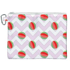 Watermelon Chevron Canvas Cosmetic Bag (XXL)