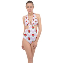 Watermelon Chevron Halter Front Plunge Swimsuit