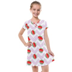 Watermelon Chevron Kids  Cross Web Dress