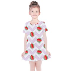 Watermelon Chevron Kids  Simple Cotton Dress