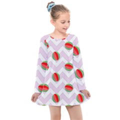 Watermelon Chevron Kids  Long Sleeve Dress