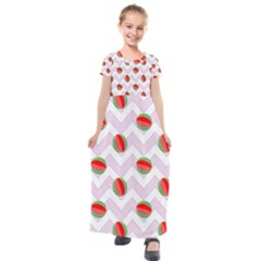Watermelon Chevron Kids  Short Sleeve Maxi Dress