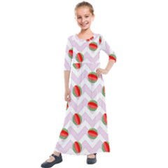 Watermelon Chevron Kids  Quarter Sleeve Maxi Dress