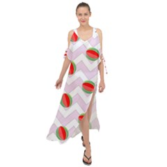 Watermelon Chevron Maxi Chiffon Cover Up Dress