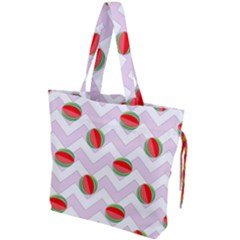 Watermelon Chevron Drawstring Tote Bag