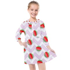 Watermelon Chevron Kids  Quarter Sleeve Shirt Dress