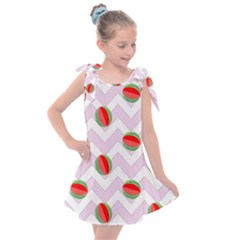 Watermelon Chevron Kids  Tie Up Tunic Dress
