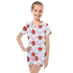 Watermelon Chevron Kids  Mesh Tee and Shorts Set