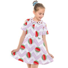 Watermelon Chevron Kids  Short Sleeve Shirt Dress
