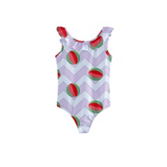Watermelon Chevron Kids  Frill Swimsuit