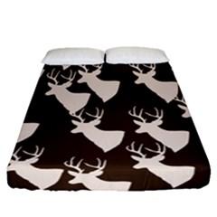 Brown Deer Pattern Fitted Sheet (queen Size)