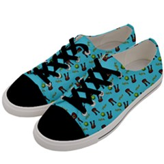 School Girl Pattern Blue Men s Low Top Canvas Sneakers by snowwhitegirl
