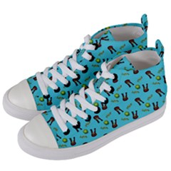 School Girl Pattern Blue Women s Mid Top Canvas Sneakers by snowwhitegirl