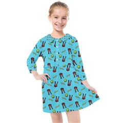 School Girl Pattern Blue Kids  Quarter Sleeve Shirt Dress
