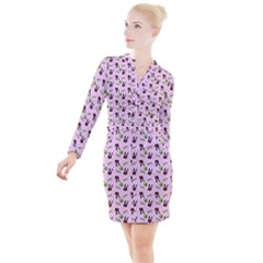 School Girl Pattern Pink Button Long Sleeve Dress
