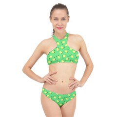 Lemons Green High Neck Bikini Set by snowwhitegirl