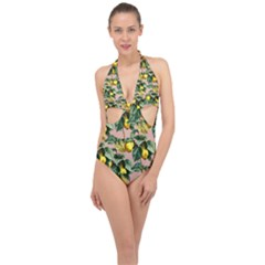 Fruit Branches Halter Front Plunge Swimsuit