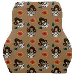 Girl With Dress Beige Car Seat Velour Cushion