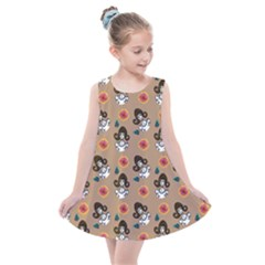 Girl With Dress Beige Kids  Summer Dress