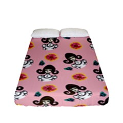 Girl With Dress  Pink Fitted Sheet (full/ Double Size) by snowwhitegirl