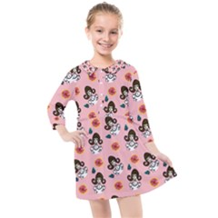 Girl With Dress  Pink Kids  Quarter Sleeve Shirt Dress