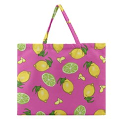 Lemons And Limes Pink Zipper Large Tote Bag by snowwhitegirl