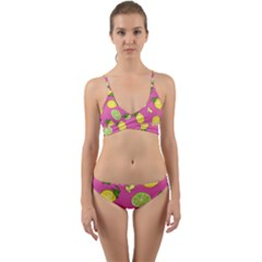 Lemons And Limes Pink Wrap Around Bikini Set by snowwhitegirl