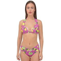 Lemons And Limes Pink Double Strap Halter Bikini Set by snowwhitegirl