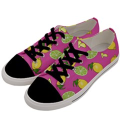 Lemons And Limes Pink Men s Low Top Canvas Sneakers by snowwhitegirl